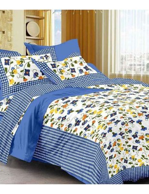 Blue & White Cotton King Size Double Bedsheet with Pillow Cover