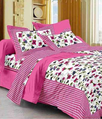 Pink & White Cotton King Size Double Bedsheet with Pillow Cover