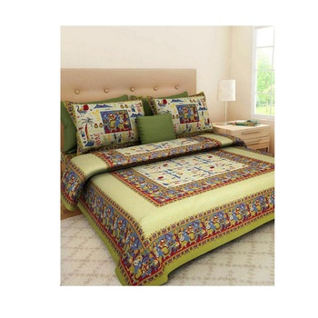 Green Cotton King Size Double Bedsheet with Pillow Cover