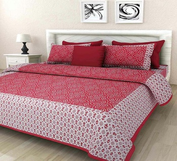 Red Cotton King Size Double Bedsheet with Pillow Cover