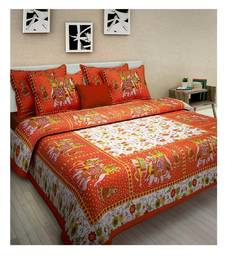 Orange Cotton King Size Double Bedsheet with Pillow Cover