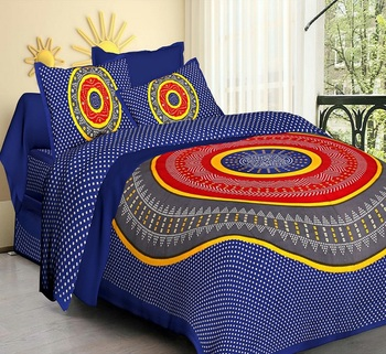 Blue Cotton Jaipuri King Size Double Bedsheet with Pillow Cover