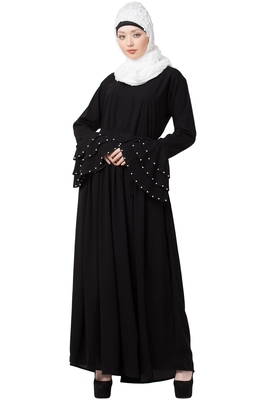 A-Line Nida Abaya With Bell Sleeves