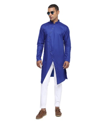 Blue Plain Cotton Men Kurtas