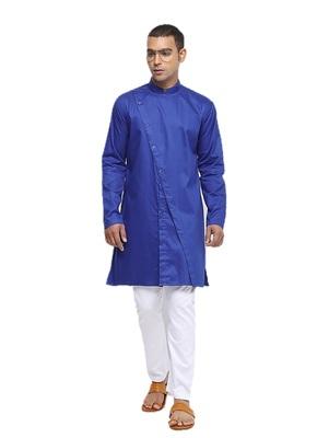 Blue plain cotton men-kurtas
