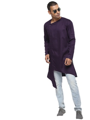 Purple Plain Cotton Men Kurtas