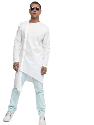 White plain cotton men-kurtas