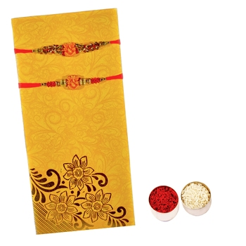 Beautiful Set of 2 Ganesha Rakhi :: Roli Tika for Brother