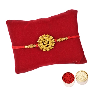 Beautiful Designer Golden OM Rakhi :: Roli Tika for Brother