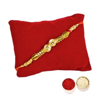 Beautiful Golden Bracelet Rakhi In Mauli Thread :: Roli Tika for Brother (Single Rakhi)