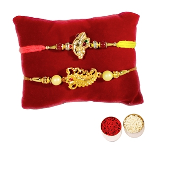 Combo of 2 Beautiful Ethnic Rakhi :: Roli Tika