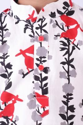 Red Bird Print Cotton Khadi Kurta With Red Churidar