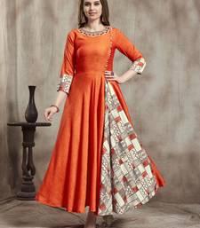 Orange embroidered rayon embroidered-kurtis