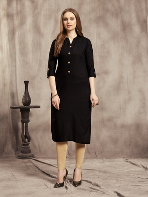 Black plain rayon kurtas-and-kurtis