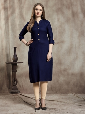 Navy-blue plain rayon kurtas-and-kurtis