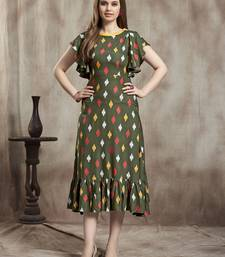 Dark-green printed rayon kurtas-and-kurtis