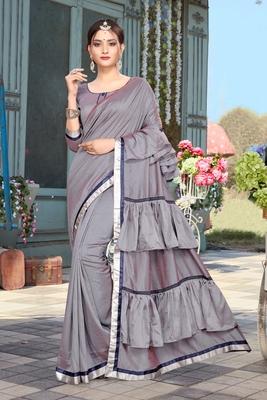 Grey Plain Art Silk Saree With Blouse