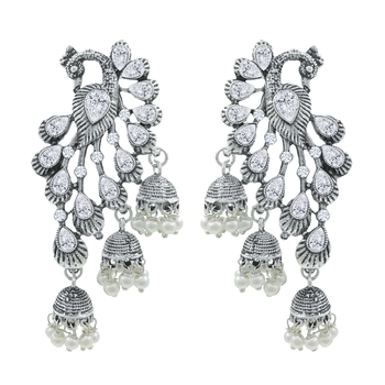 Saizen Wedding Traditional Moti Jhumka Earrings Alloy Drops & Danglers