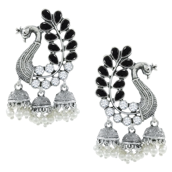Saizen Traditional Silver Black Pearl Peacock Kundan Jhumkas Diamond, Pearl Alloy Jhumki Earring