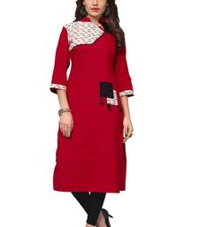 Maroon printed cotton kurtas-and-kurtis