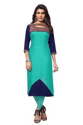 Turquoise plain rayon kurtas-and-kurtis