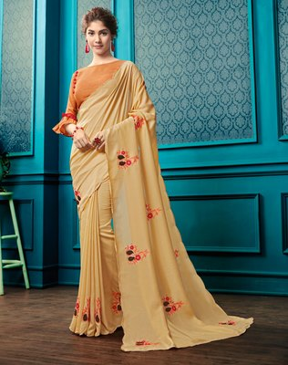 Light yellow embroidered faux georgette saree with blouse