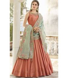 Designer Orange Heavy Soft Banglori Silk Handworked Partywear Suit