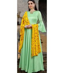 Designer Green Ice Heavy Cotton Maslin Slub HandWork Partywear Suit