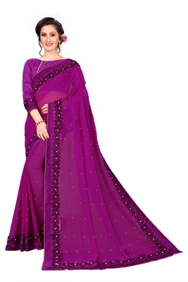 Purple woven Georgette saree with blouse