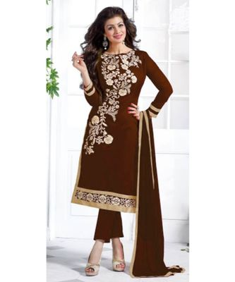 Brown chanderi embroidered un-stitched kameez with dupatta