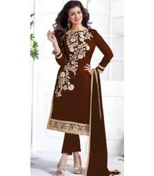 Brown chanderi embroidered un-stitched kameez with dupatta