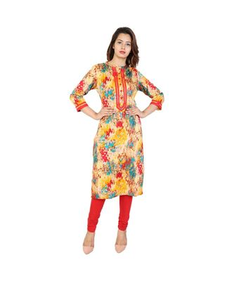 red Red Glace Cotton Kurti With Pignose Buttons