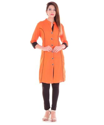 orange Rayon Orange Kurti With Black Trims & Buttons