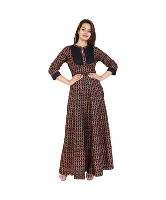brown Cotton Long Kurta With Gold & Red Print