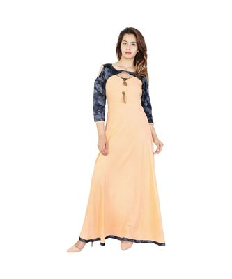 beige Rayon 3/4th Sleeve With Cold Shoulder Long Kurti