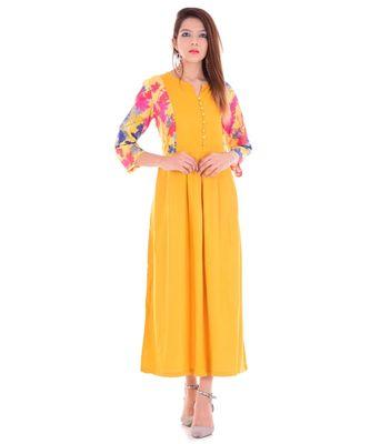 mustard Rayon & Bell Sleeve Long Kurta With Round Neck