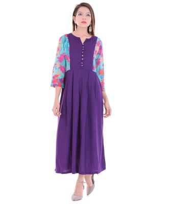 blue Rayon & Bell Sleeve Long Kurta With Round Neck In Blue