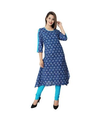 blue blue Prited Fish Cut Cotton Kurta For Women