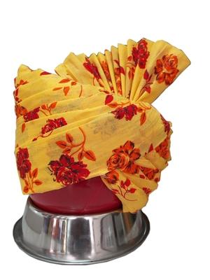Madhu Shree Safa & Sherwani  Yellow & red printed flower jodhpuri redaymade safa for men