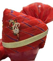Madhu Shree Safa & Sherwani Orange color sirpatch lahriya readymade jodhpuri safa for men