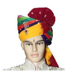 Madhu Shree Safa & Sherwani  Multicolor bandhej  sirpatch lahriya readymade jodhpuri safa for men
