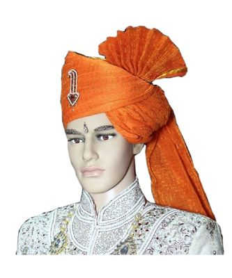 Madhu Shree Safa & Sherwani Orange zari sirptach readymade jodhpuri safa for men
