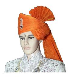 Madhu Shree Safa & Sherwani Orange zari sirptach readymade jodhpuri safa for men