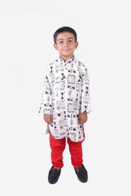 Black Tribal Print Khadi Cotton Kurta with Red Churidar