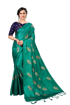 Turquise embroidered art silk saree with blouse