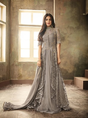 Grey Embroideried Semi Stitched Anarkali Gown
