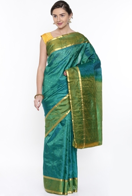 CLASSICATE From The House Of The Chennai Silks Women's Green Dharmavaram Silk With Running Blouse