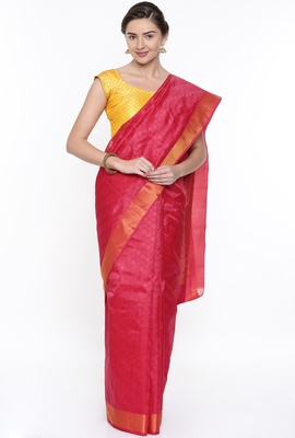 CLASSICATE From The House Of The Chennai Silks Red Dharmavaram Silk With Running Blouse