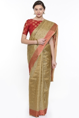 CLASSICATE From The House Of The Chennai Silks Beige Dharmavaram Silk With Running Blouse