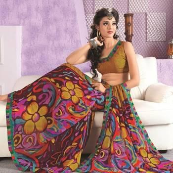 Sarees Faux Georgette Elegant Designer Piece with Blouse Piece D.No 3007A